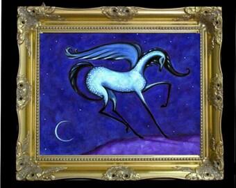 Pegasus Magical Horse Art Print, Colorful Wall Art, Elegant Home, Farmhouse Decor, Gypsy Chic, Fixer Upper Style, Nursery Artwork, Shano
