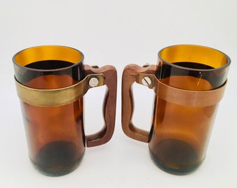 UPCYCLED BEER MUG- Made for recycled Amber Brown beer bottles
