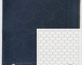 Sashiko Fabric Pattern Sampler Kit - Olympus Sashiko Hoshi Ami on Navy Fabric (No 205)
