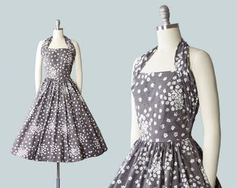 Vintage 1950s Dress | 50s Floral Rhinestones Cotton Halter Circle Skirt Grey Sundress with Pocket (xs)