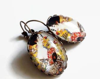 Earrings Lady fan Gustav Klimt art nouveau, yellow, glass cabochons