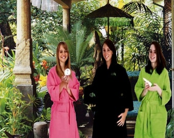 Custom Kimono Robes, Flaterring knee length, Personalized for your Bridesmaids.  Monogrammed,  2 Generous  Pockets