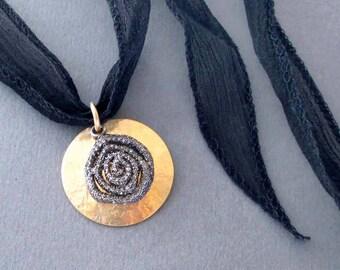 Genuine Diamond Pave Pendant Necklace on Black Silk Ribbon Greek Goddess Jewelry, Diamond Encrusted Spiral, 14k Gold Fill, April Birthstone