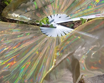 Holographic Folding Fans Pair premade ready to ship Gold Square, 2ft