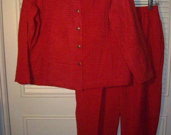 Pantsuit 14 - 16, Red Pants and Jacket, Elastic Waist on Pants.  Easy Travel/Resort Outfit.  - see details