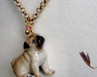 """Necklace """"Pug"""" with pug pendant made of porcelain"""