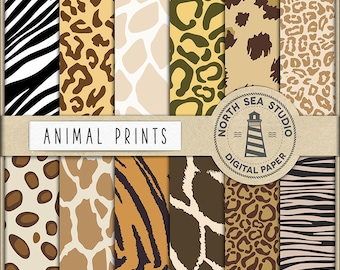 Animal Print Digital Paper, Animal Patterns, Leopard, Giraffe, Tiger, Cheetah, Safari Paper, Animal Backgrounds, Coupon Code: BUY5FOR8