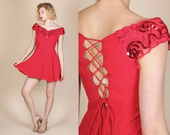 80s Red Sequin Party Dress - Small to Medium Petite | Vintage Corset Back Off Shoulder Mini