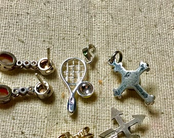 Vintage Sterling Silver Charm and earring lot 5 pieces