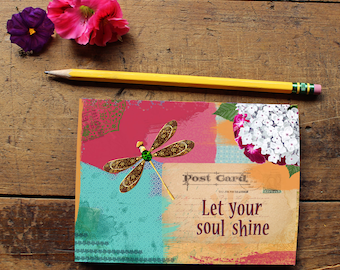 Dragonfly Journal -Handmade Notebook - Blank Journal - Quote Art Notebook - Writing journal - Sketchbook - Let your soul shine