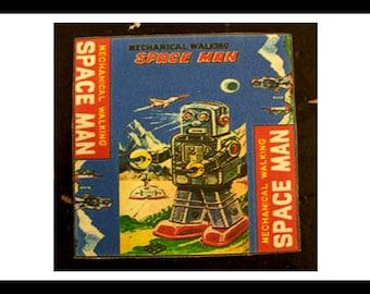 retro robot coaster set 1950s tin toy robot bar decor vintage outer space kitsch
