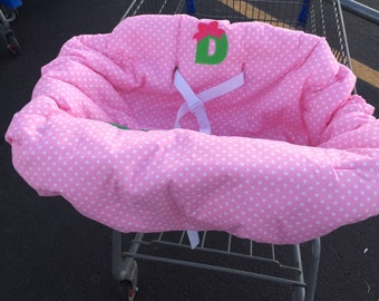 Embroidered, personalized, reversible shopping cart cover with polka dot cover