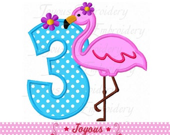 Instant Download Flamingo Number 3 Applique Embroidery Design NO:2140