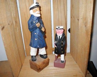 Captain Pepper and Old Peg Leg.  Hand Carved Wooden Sailors. Sailor Figurines. Sea Faring Men. Crew Men. Nautical Knick Knacks