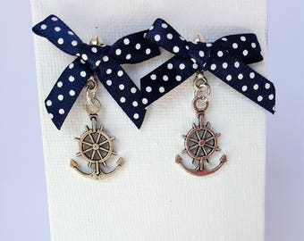 Ahoy! Sailor Anchor Earrings with Blue Polka Dot Bows Jewellery Jewelry