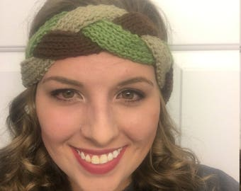 Brown, Green, and Taupe Braided Headband