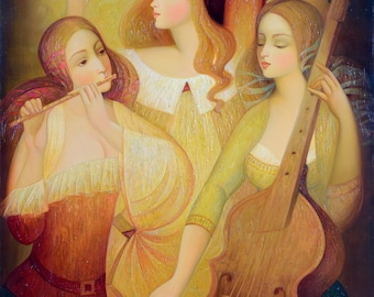 Oil on Canvas Original Signed Painting by Marina Grigoryan Revelry Unique Art