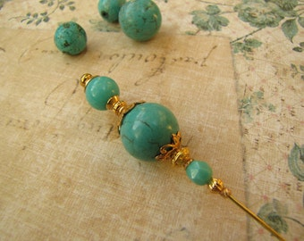 5 Inches, Turquoise Hatpin, Gold Plated Stick Pin