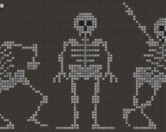 Dancing Skeletons Cross Stitch Pattern