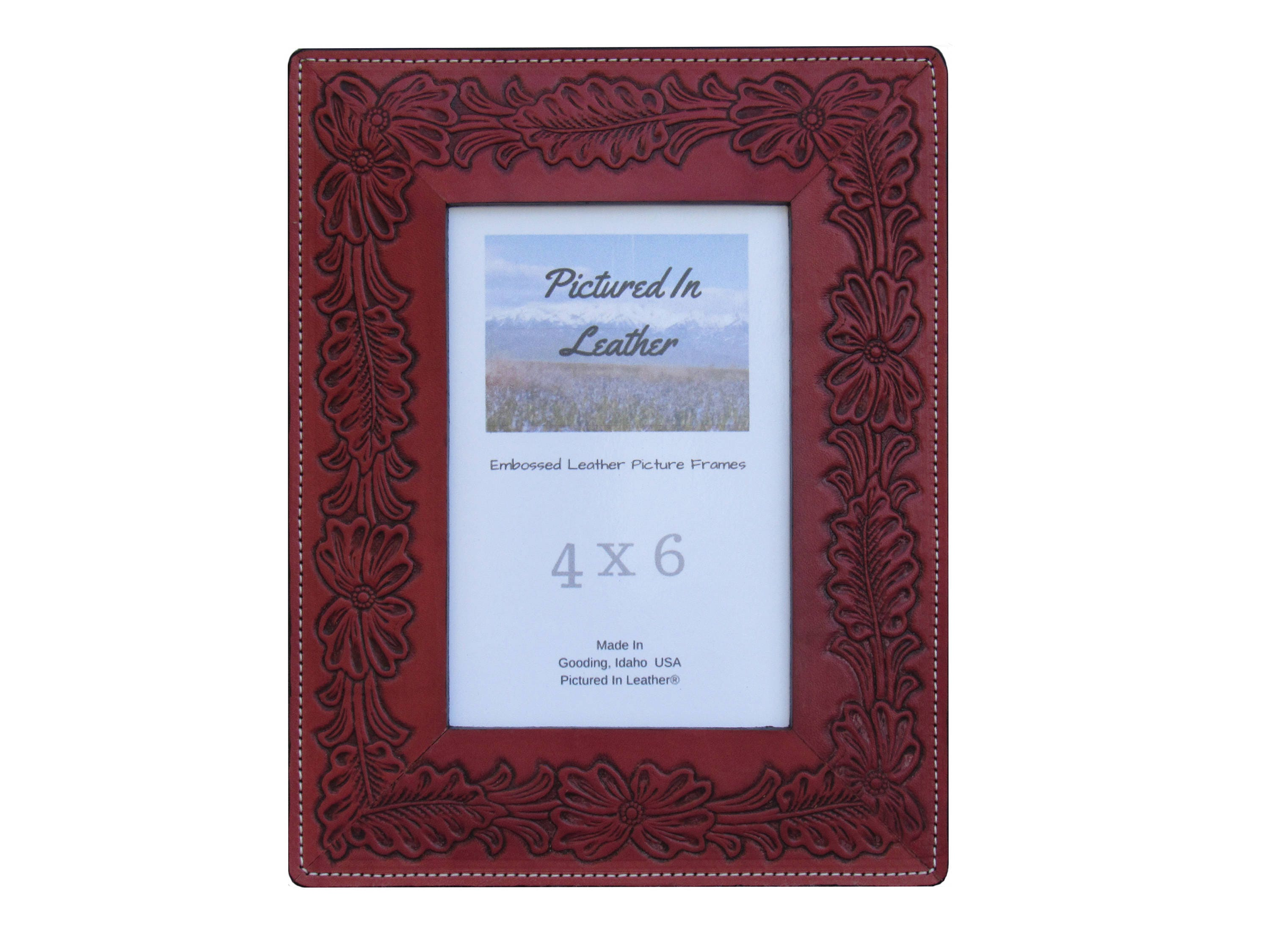 Mom gifts, 4x6 leather picture frame, floral picture frame, flowers ...