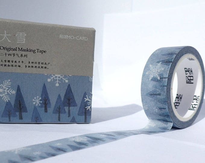 Winter Trees Washi Tape - Paper Tape Great for Scrapbooking Paper Crafts - Snow and Spruce Trees Pine 15mm x 7m