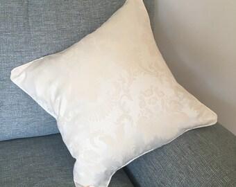 Cream damask pattern cushion cover