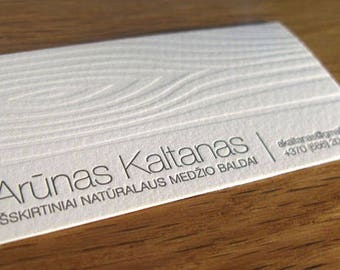 100 Cotton Paper Letterpress Business Card With Wooden Texture