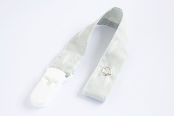 Grey with white feathers dummy clip/ pacifier clip