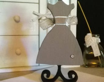Scalloped and painted decorative wooden mannequin silhouette