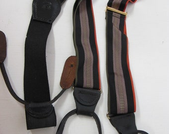 Cole Haan Suspenders Burgundy Hipster Suspenders Braces Black Leather