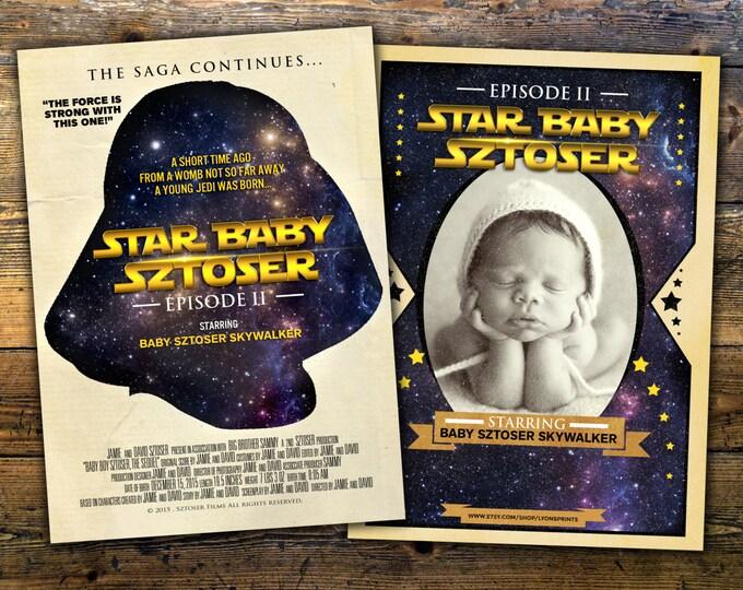 Star Wars Birth Announcement, Star Wars Birth Stats, Star Wars Newborn Poster, Star Wars Baby, Birth Announcement, Birth Stats, Digital