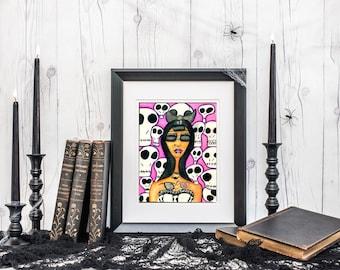 Gothic Girl  - Instant Download - Skull Art - Horror Art - Women of Color - Alt Women Art - Alt Girls - Black Goth - Alt POC - Skull Girl