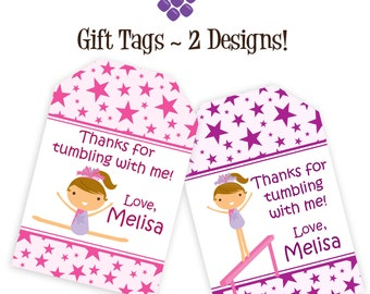 Gymnastic Gift Tags - Pink and Puple Fun Stars, Cute Little Girl Gymnast Personalized Birthday Party Gift Tags - A Digital Printable File
