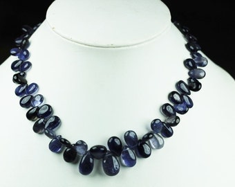 10 inch long strand smooth pear IOLITE briolette beads 7 x 5 -- 16 x 10 mm