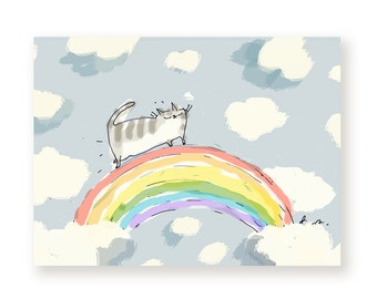 Rainbow Bridge Cat Card - Cat Loss - With Sympathy