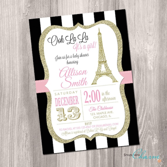Paris baby shower invitation eiffel tower baby shower like this item filmwisefo Gallery