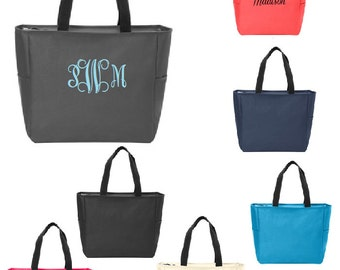 Custom list for 10 Personalized Resort Zipper Tote Bag, monogram, coral, turquoise, charcoal gray, hot pink, navy, black, cream