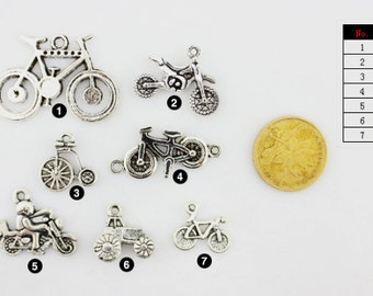 DIY Handmade Jewelry  Accessories 7 styles Antique silver Bicycle necklace and/or bracelet  charms pendants--Quantity and style Free Choice