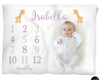 Giraffe girl monthly milestone baby blanket, personalized baby gift, baby blanket, monthly milestone baby blanket, baby girl growth,
