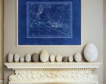 """Pisces sign print 1822 Vintage Pisces constellation zodiac star map, 4 sizes up to 36x30"""" (90x75cm) Astrological - Limited Edition of 100"""