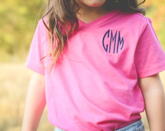 Girls Monogram Shirt | Monogram V Neck | Girls V Neck Shirt | Monogrammed V Neck | Gifts for Girls | Gifts under 20 | Christmas Gift