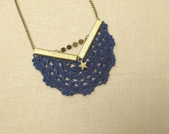 bronze star charm and Navy crocheted lace bohemian necklace