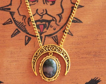 MOSS Agate and Moonstone gold necklace