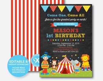 Instant Download, Editable Circus Birthday Invitation, Circus Invitation, Circus Party Invitation, Boy Party Invitation, Chalkboard (CKB.89)