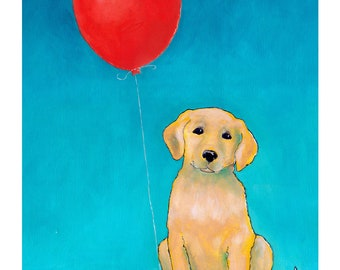 Yellow Lab Dog with Red Balloon