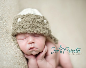 Bomber earflap baby hat newborn photo photography prop creamy white and taupe grey hand knit beanie lumberjack hunter unigender boy girl