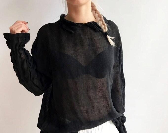 Black Gauze Top with Ruffled Cuffs, Linen Blouses For Women, Light Blouse Women, Black Blouse, White Blouse, Gauze Blouse, Gauzy Linen Top