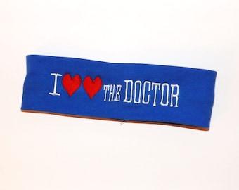Doctor Who Headband - I (heart) (heart) THE DOCTOR - Comes As Shown - TARDIS blue