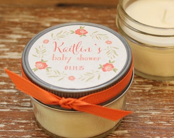 Set of 12 - 4 oz Baby Shower Favor Candles - Floral Wreath Label - Girl Baby Shower Favor // Boy Baby Shower Favors // Soy Candle Favor