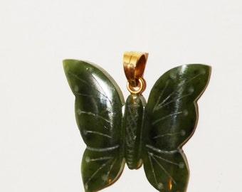 Vintage 14k Jadeite Butterfly Pendant.